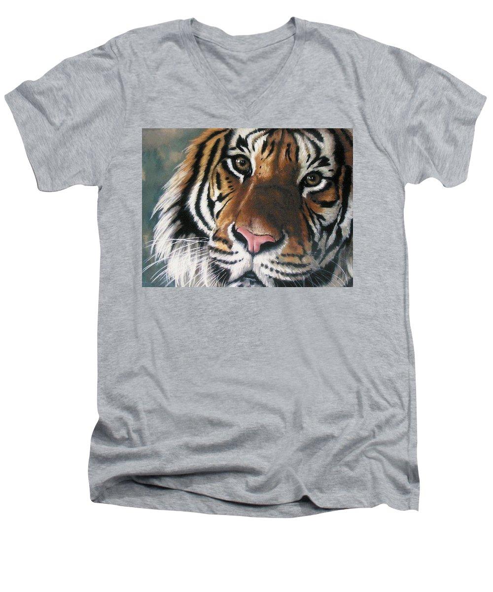 Tiger Men's V-Neck T-Shirt featuring the pastel Tigger by Barbara Keith
