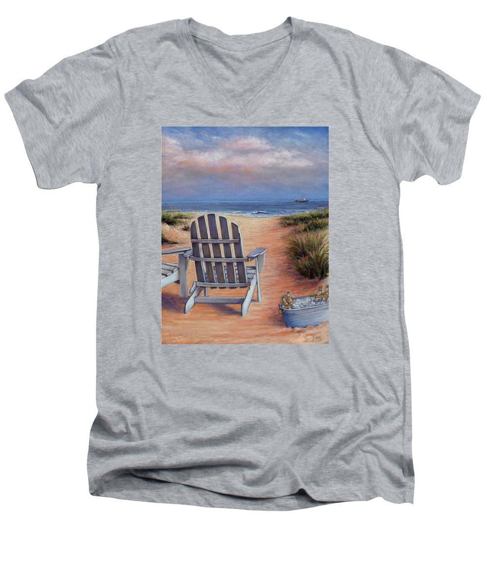 Landscape Men's V-Neck T-Shirt featuring the pastel Time To Chill by Susan Jenkins