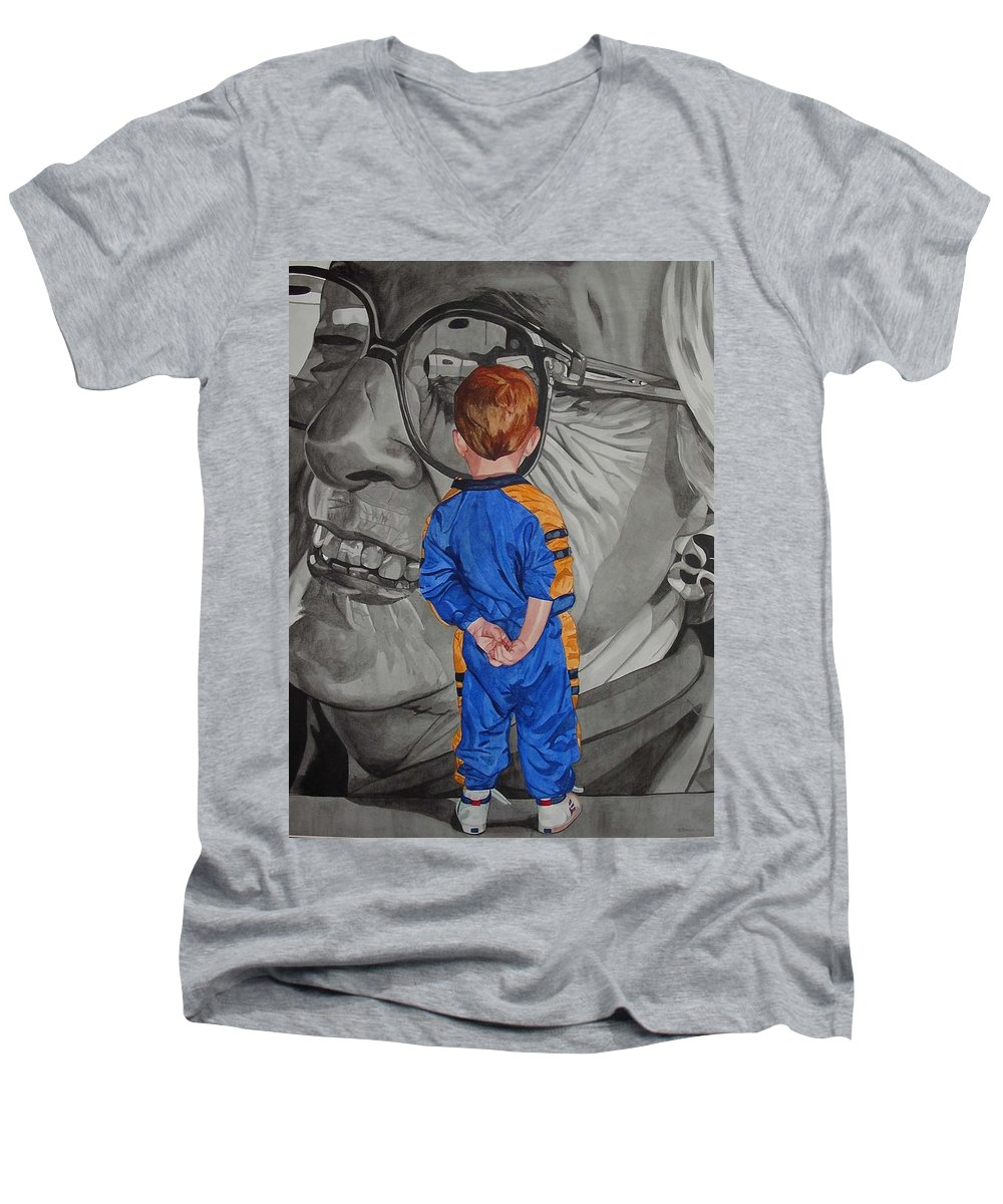 Children Men's V-Neck T-Shirt featuring the painting Timeless Contemplation by Valerie Patterson