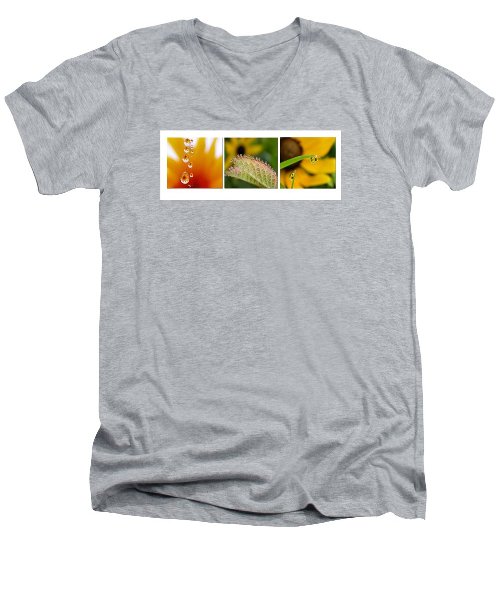 Dew Men's V-Neck T-Shirt featuring the photograph Tiny Miracles by Linda Murphy