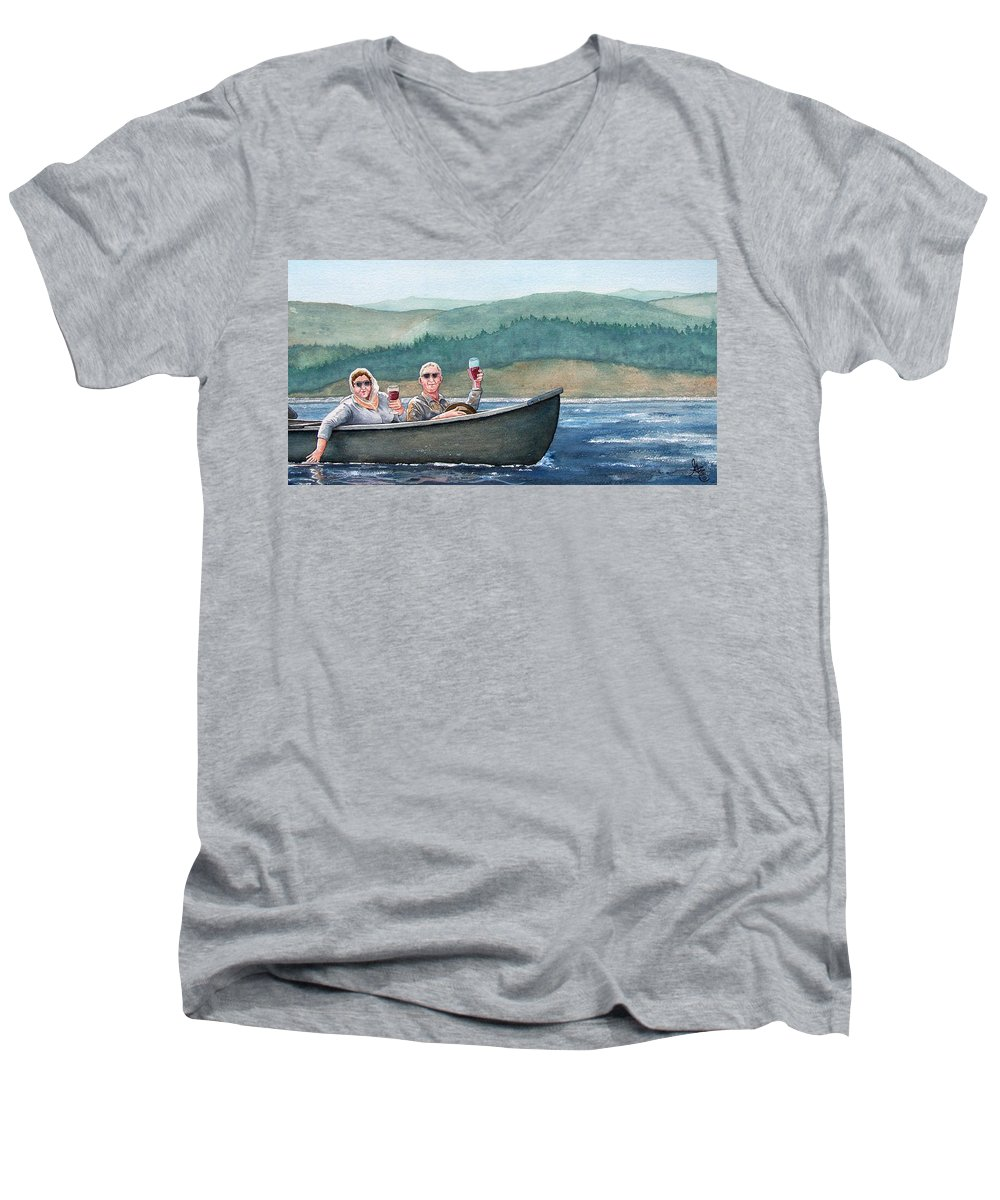 Canoe Men's V-Neck T-Shirt featuring the painting To Life by Gale Cochran-Smith