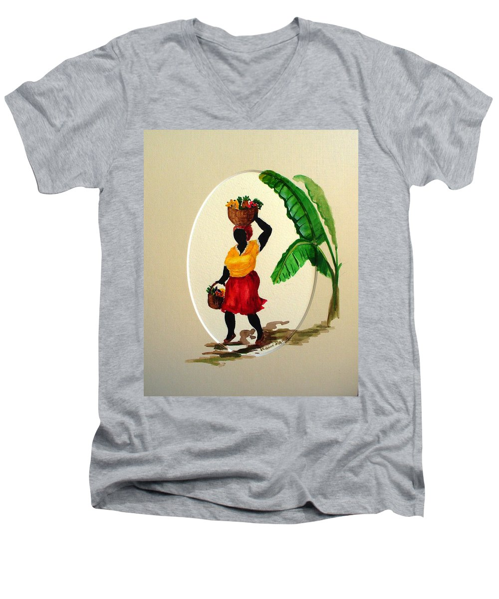 Caribbean Market Womanfruit & Veg Men's V-Neck T-Shirt featuring the painting To Market by Karin Dawn Kelshall- Best