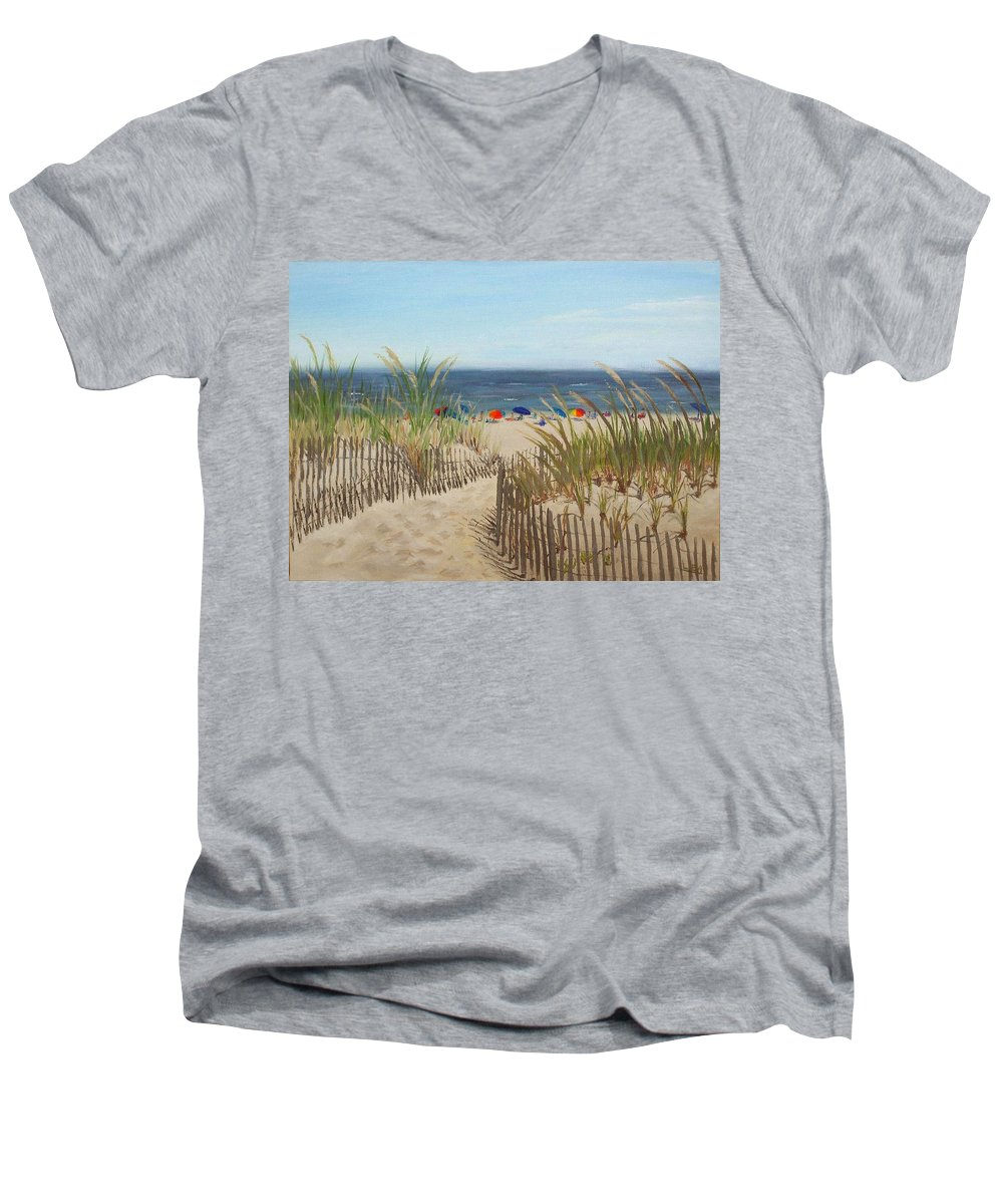 Beach Men's V-Neck T-Shirt featuring the painting To The Beach by Lea Novak