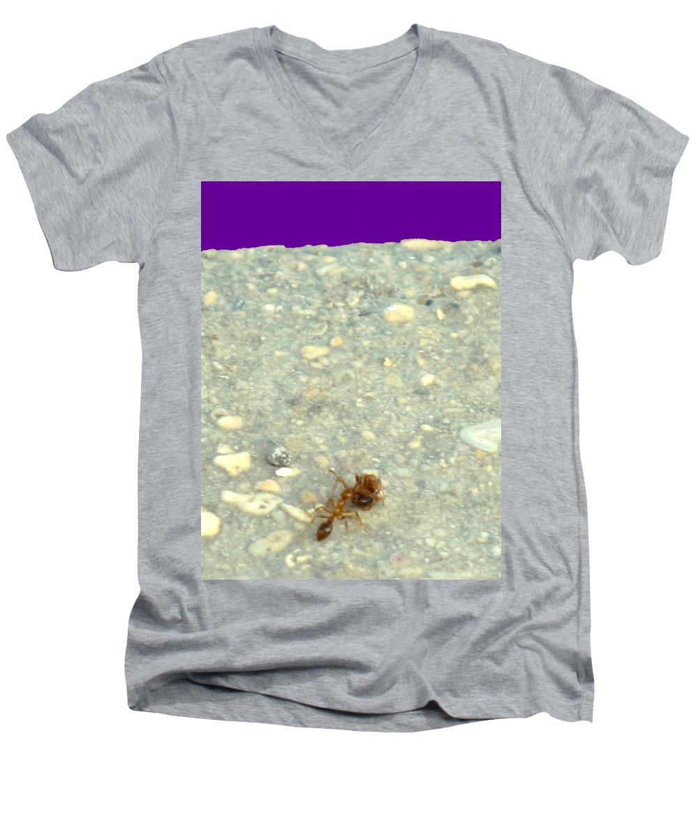 Ant Men's V-Neck T-Shirt featuring the photograph To The Edge by Ian MacDonald