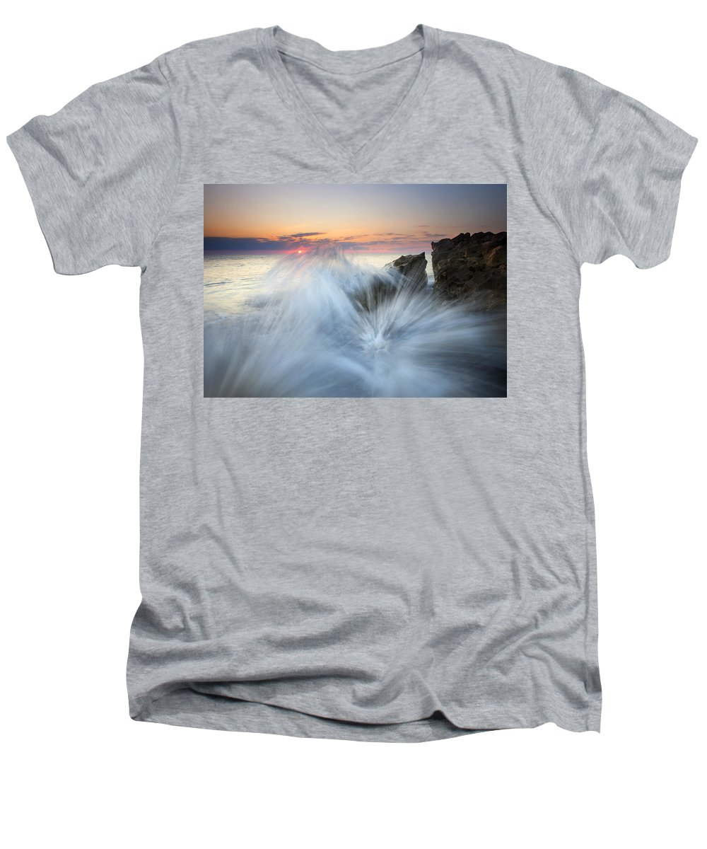 Sunrise Men's V-Neck T-Shirt featuring the photograph Too Close For Comfort by Mike Dawson