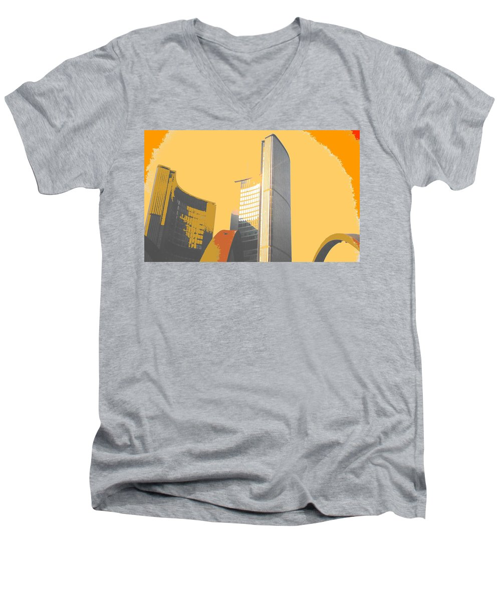 Toronto Men's V-Neck T-Shirt featuring the photograph Toronto City Hall Arches by Ian MacDonald