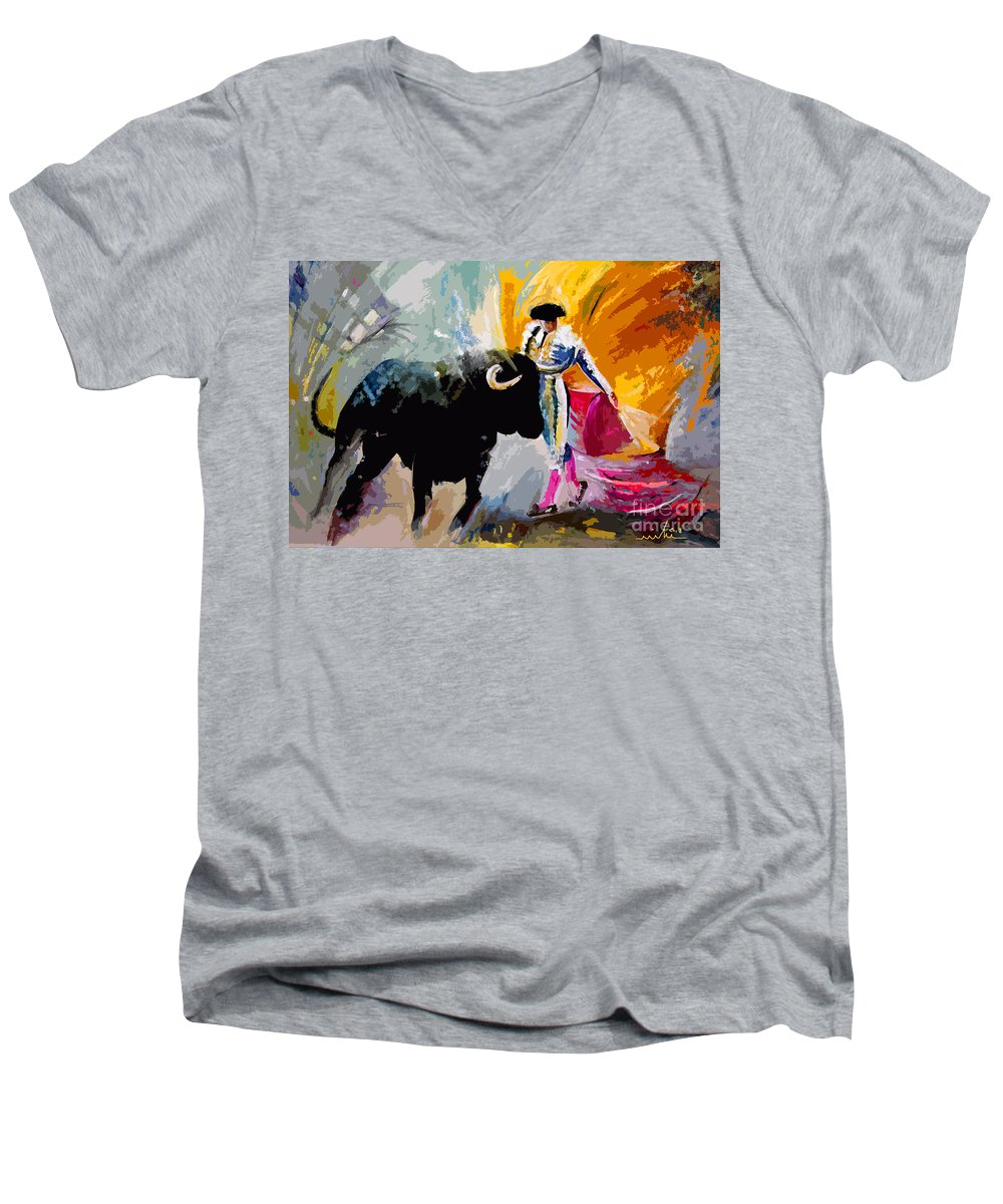 Toros Men's V-Neck T-Shirt featuring the mixed media Toroscape 03 by Miki De Goodaboom