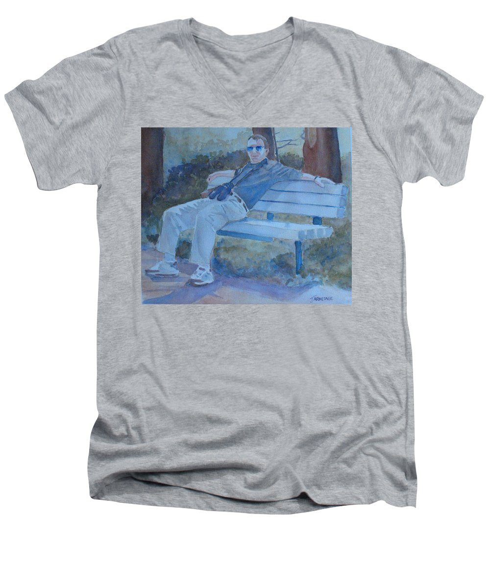 Tourists Men's V-Neck T-Shirt featuring the painting Tourist At Rest by Jenny Armitage