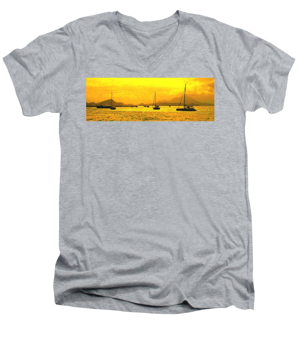 Basseterre Men's V-Neck T-Shirt featuring the photograph Towards Nevis by Ian MacDonald