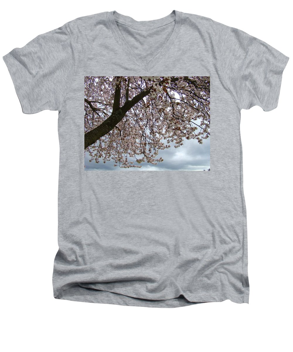 �blossoms Artwork� Men's V-Neck T-Shirt featuring the photograph Tree Blossoms Landscape 11 Spring Blossoms Art Prints Giclee Sky Storm Clouds by Baslee Troutman