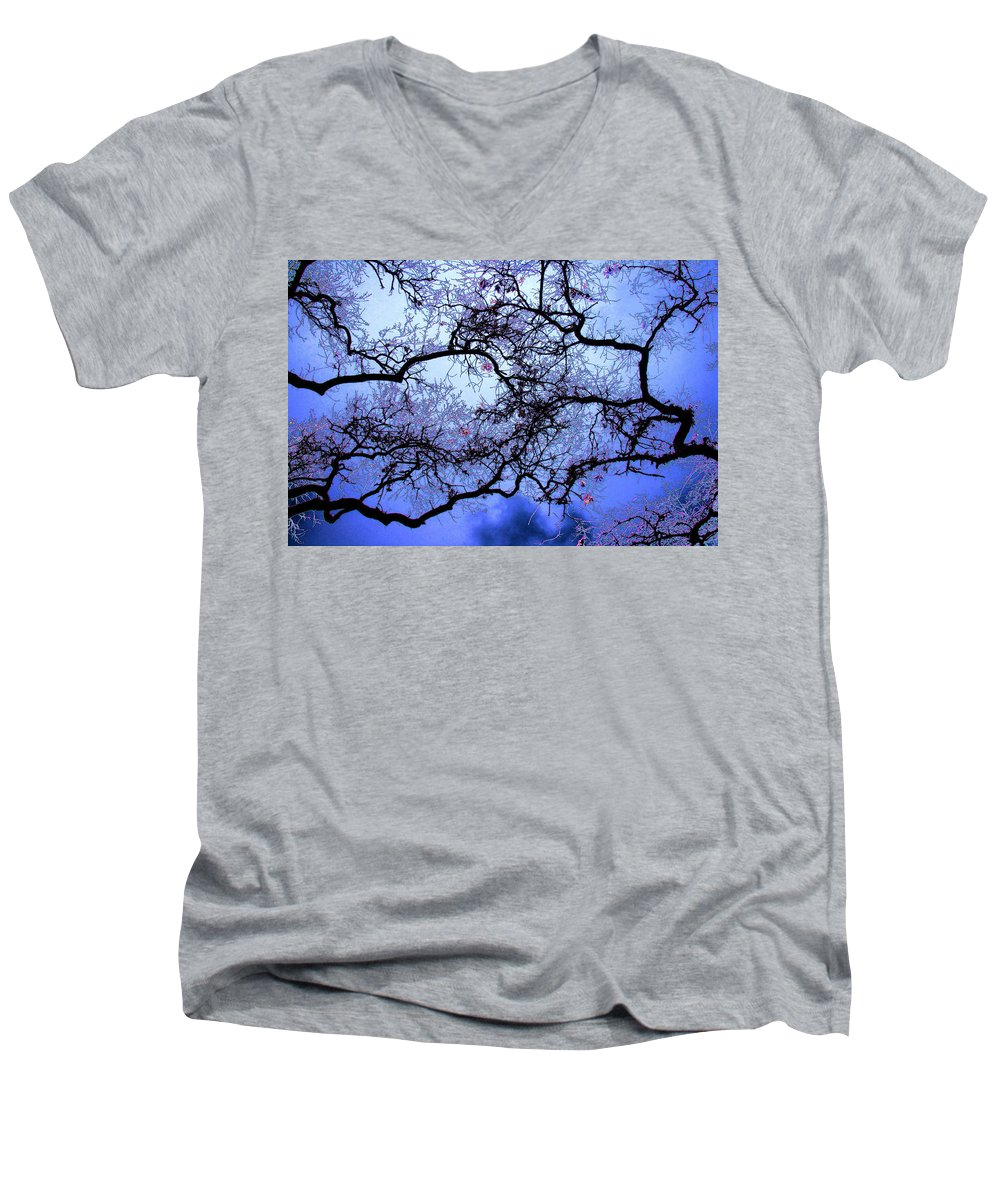 Scenic Men's V-Neck T-Shirt featuring the photograph Tree Fantasy In Blue by Lee Santa