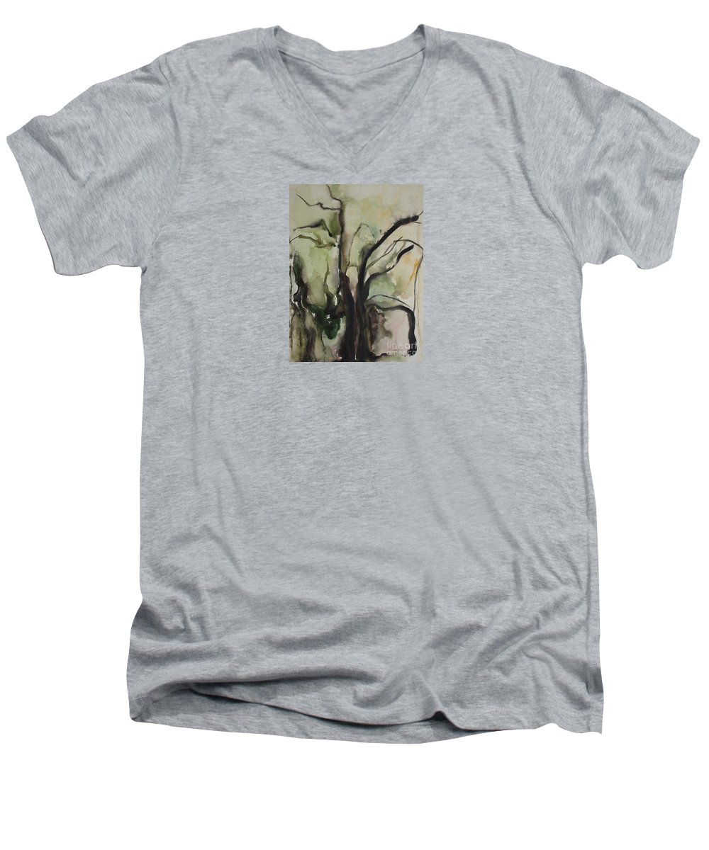 Tree Winter Abstract Original Painting Landscape Leila Atkinson Watercolor Wet On Wet Washes Trees Men's V-Neck T-Shirt featuring the painting Tree Series V by Leila Atkinson