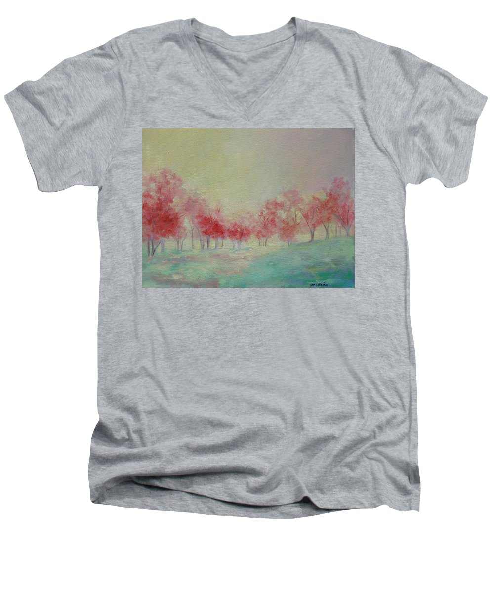 Impressionist Trees Men's V-Neck T-Shirt featuring the painting Treeline by Ginger Concepcion