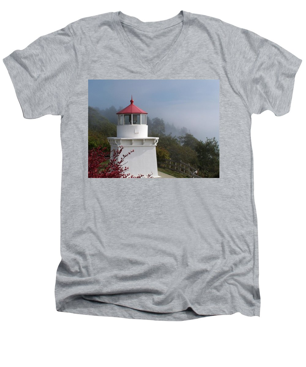 Lighthouse Men's V-Neck T-Shirt featuring the photograph Trinidad Head Lighthouse by Gale Cochran-Smith