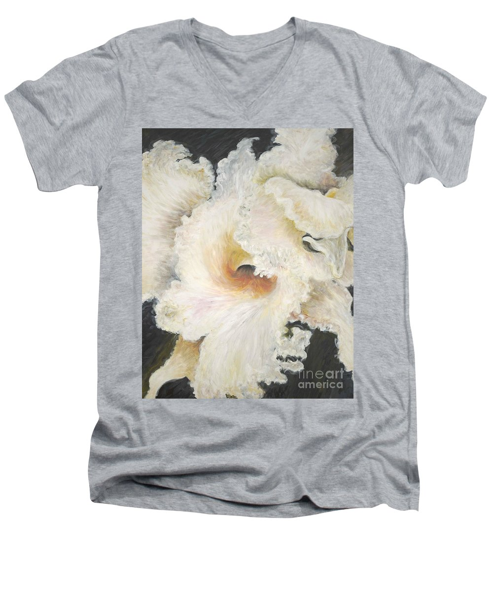 Flower Men's V-Neck T-Shirt featuring the painting Tropical Flowers by Nadine Rippelmeyer