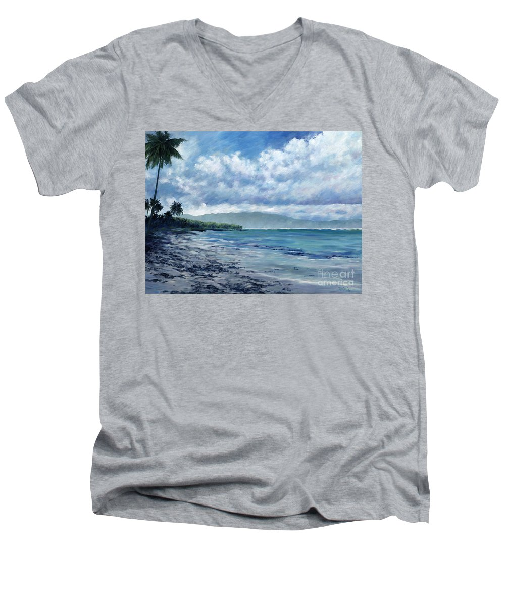 Seascape Men's V-Neck T-Shirt featuring the painting Tropical Rain by Danielle Perry