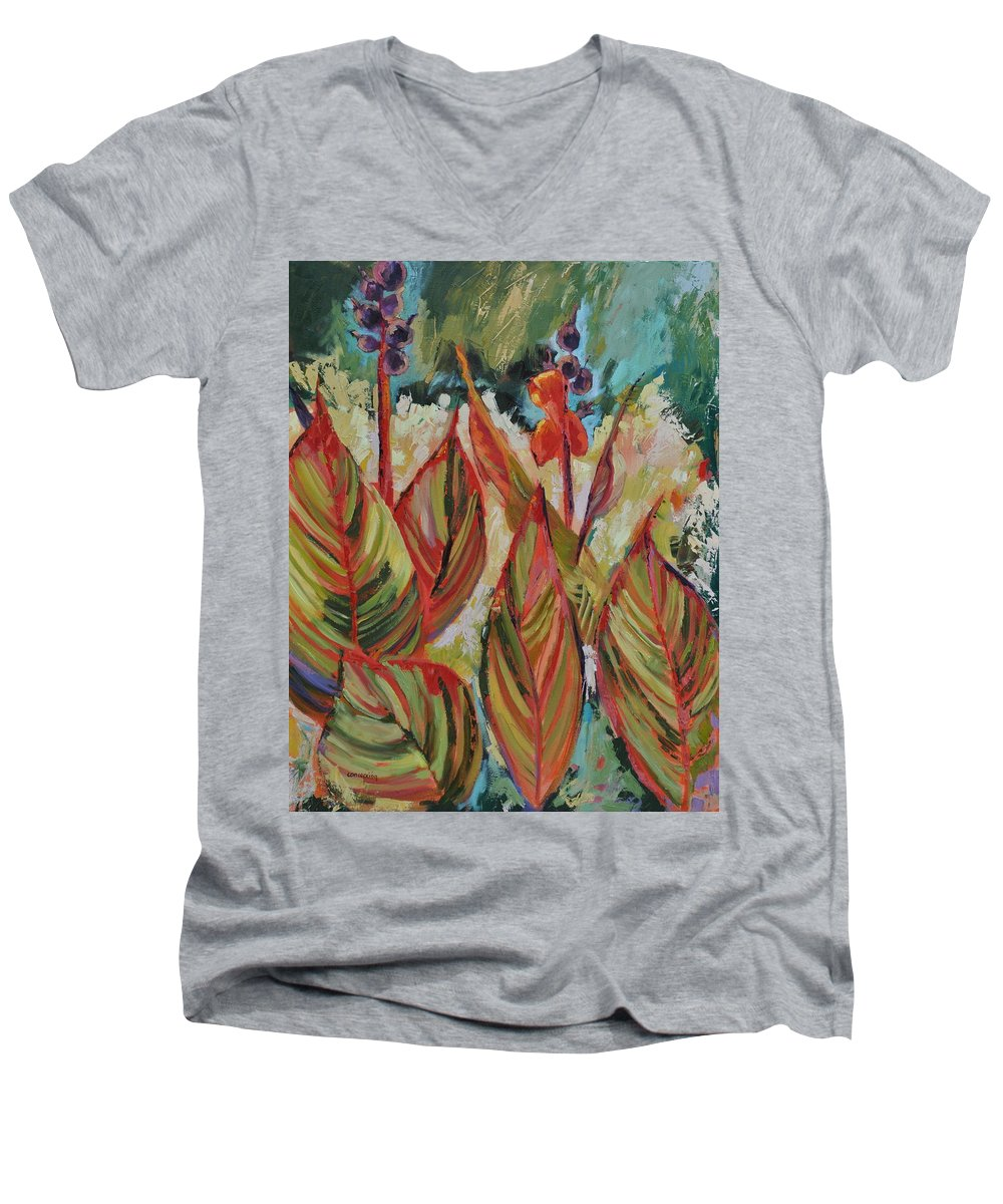 Tropicana Men's V-Neck T-Shirt featuring the painting Tropicana by Ginger Concepcion