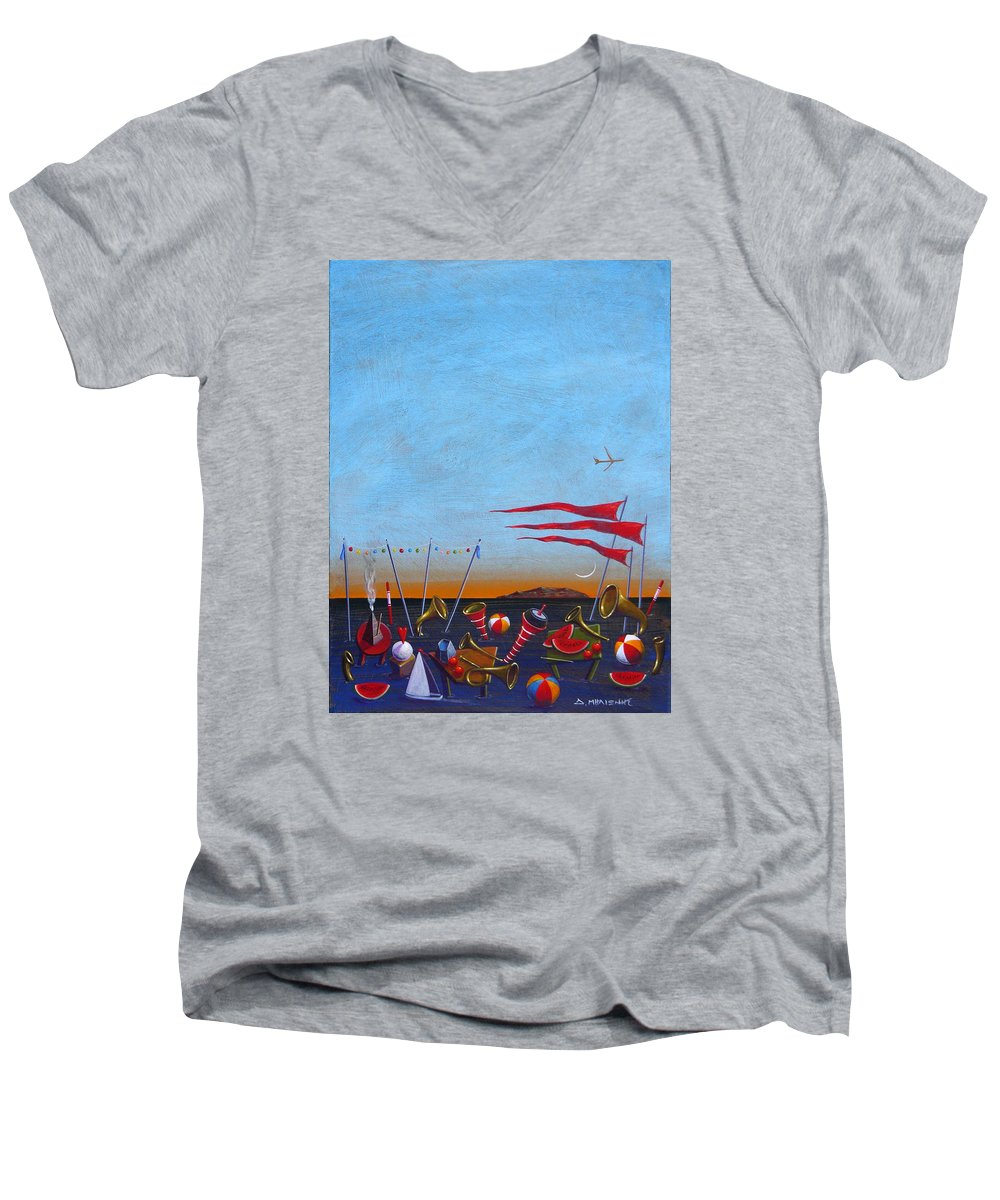 Piano Men's V-Neck T-Shirt featuring the painting Trumpets Of The Mediterranean by Dimitris Milionis