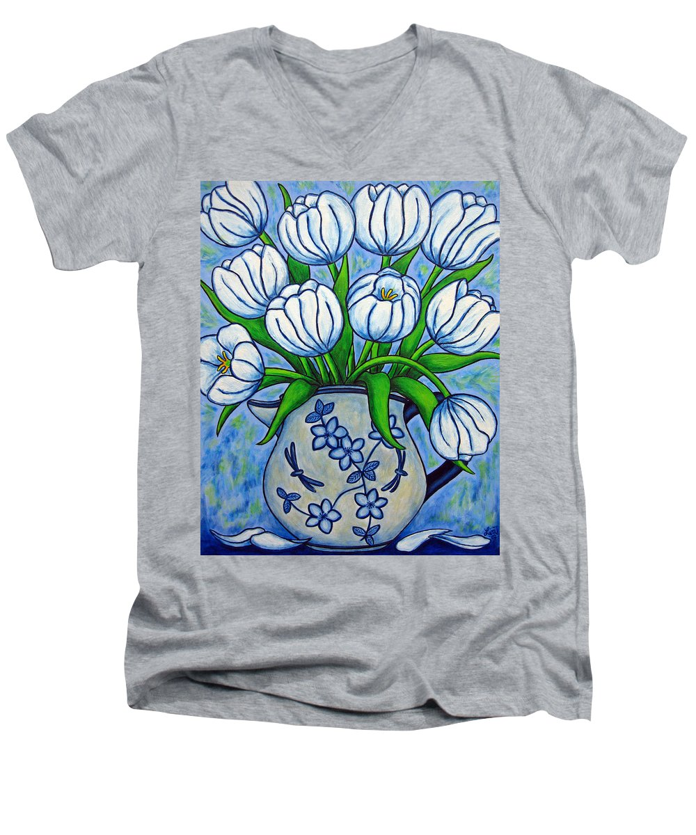 Flower Men's V-Neck T-Shirt featuring the painting Tulip Tranquility by Lisa Lorenz