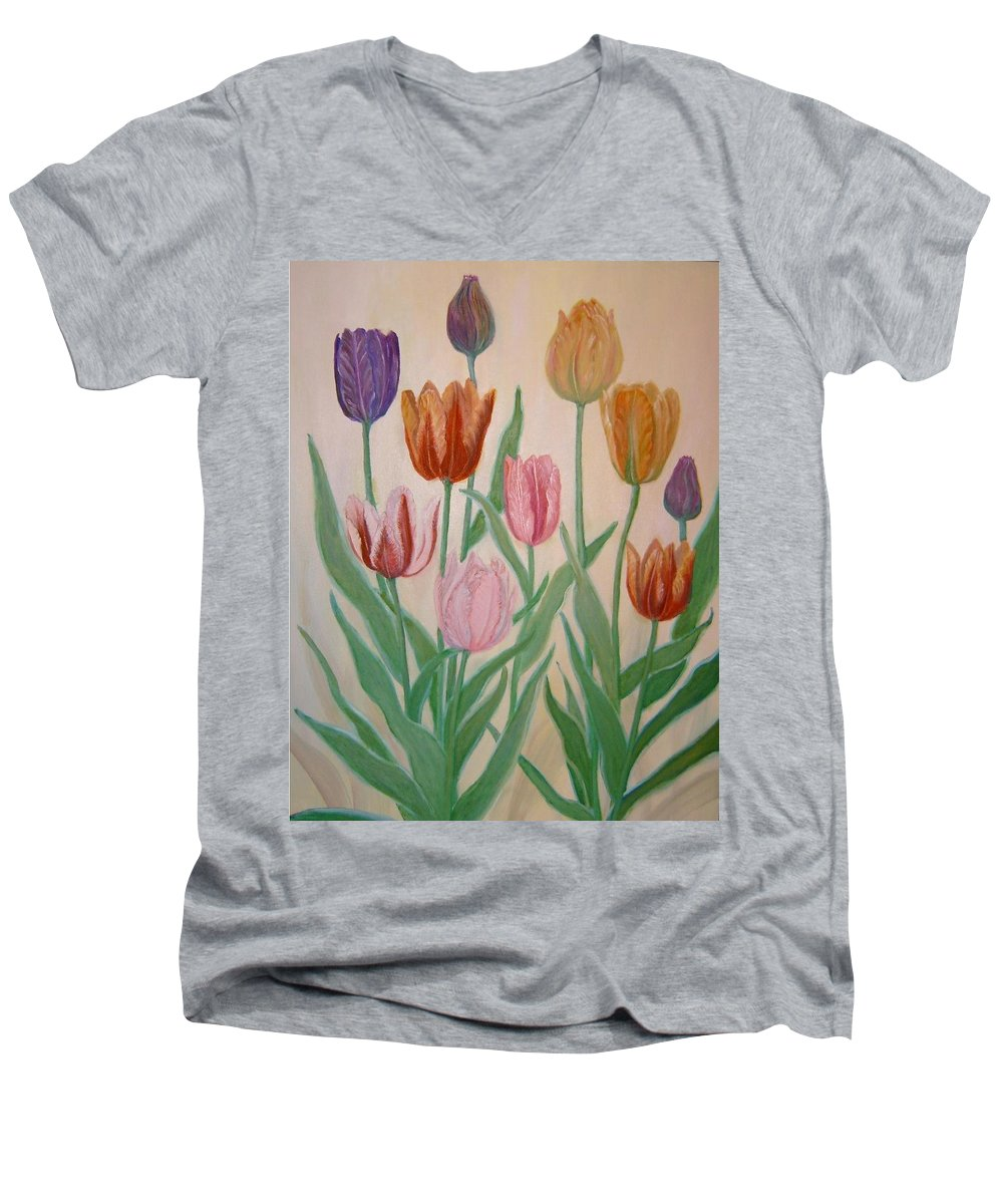 Flowers Of Spring Men's V-Neck T-Shirt featuring the painting Tulips by Ben Kiger