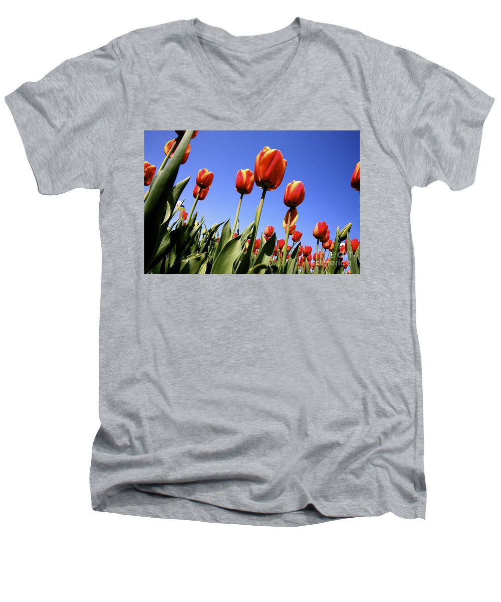 Tulips Men's V-Neck T-Shirt featuring the photograph Tulips Time 3 by Robert Pearson