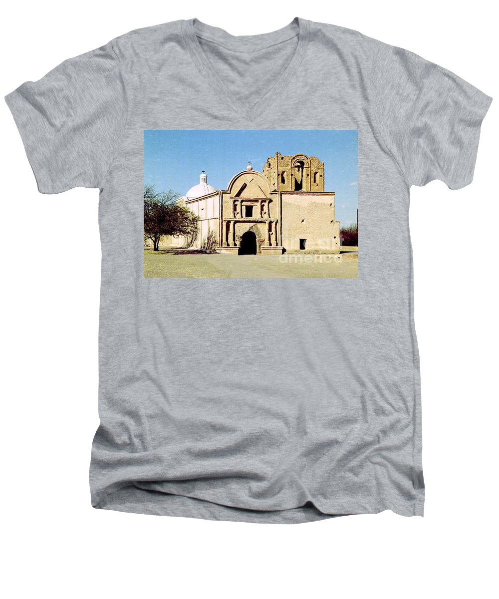 Mission Men's V-Neck T-Shirt featuring the photograph Tumacacori by Kathy McClure