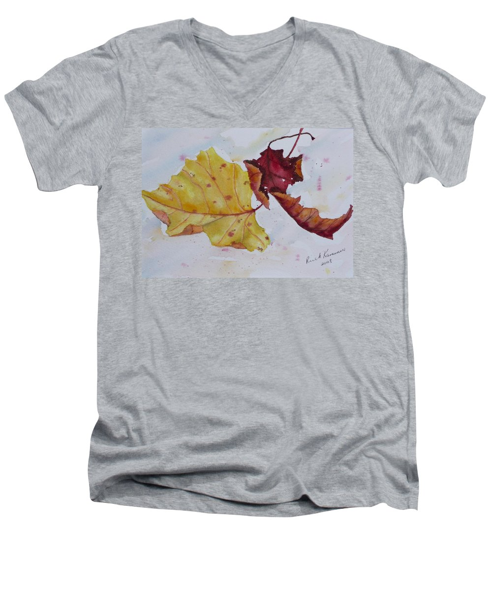 Fall Men's V-Neck T-Shirt featuring the painting Tumbling by Ruth Kamenev