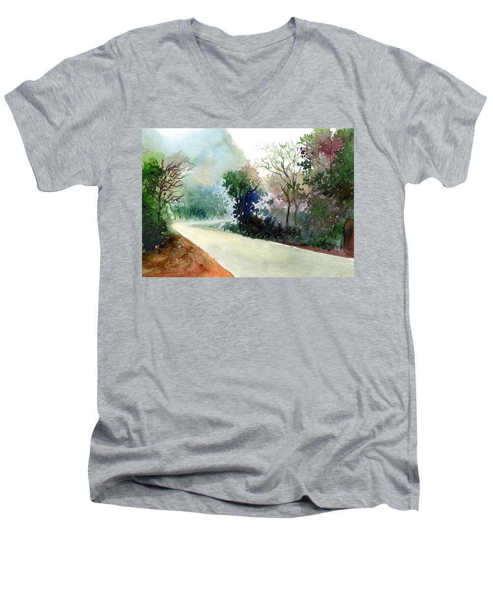Landscape Water Color Nature Greenery Light Pathway Men's V-Neck T-Shirt featuring the painting Turn Right by Anil Nene