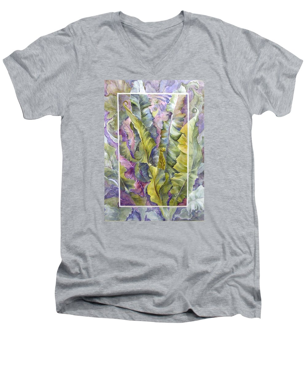 Ferns;floral; Men's V-Neck T-Shirt featuring the painting Turns Of Ferns by Lois Mountz