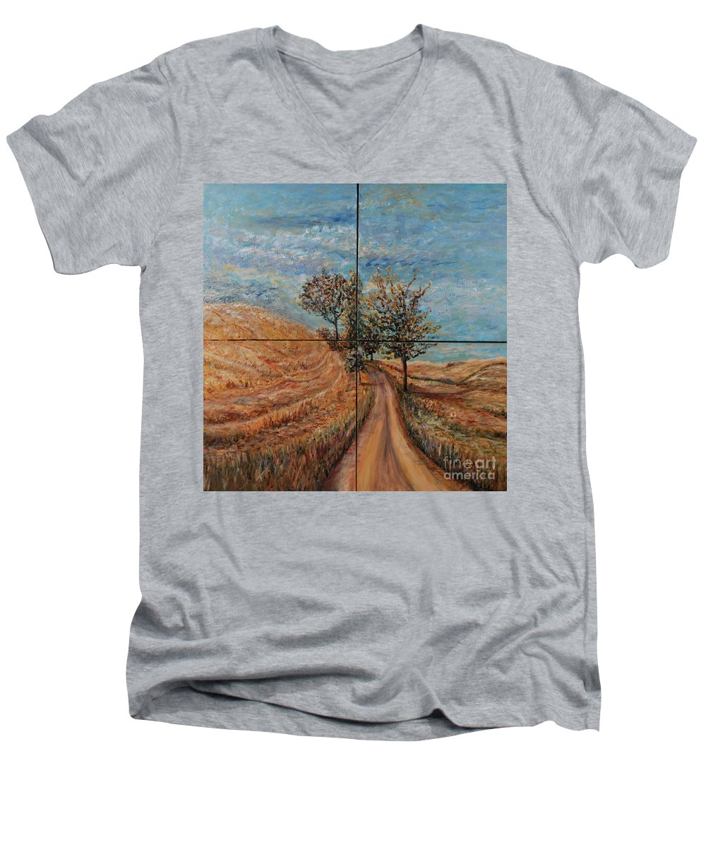 Landscape Men's V-Neck T-Shirt featuring the painting Tuscan Journey by Nadine Rippelmeyer