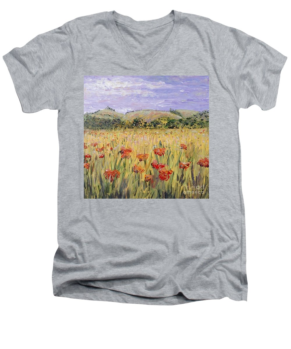 Poppies Men's V-Neck T-Shirt featuring the painting Tuscany Poppies by Nadine Rippelmeyer