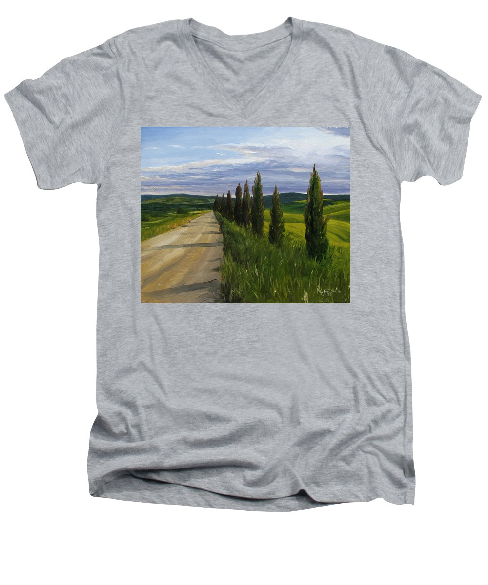 Men's V-Neck T-Shirt featuring the painting Tuscany Road by Jay Johnson