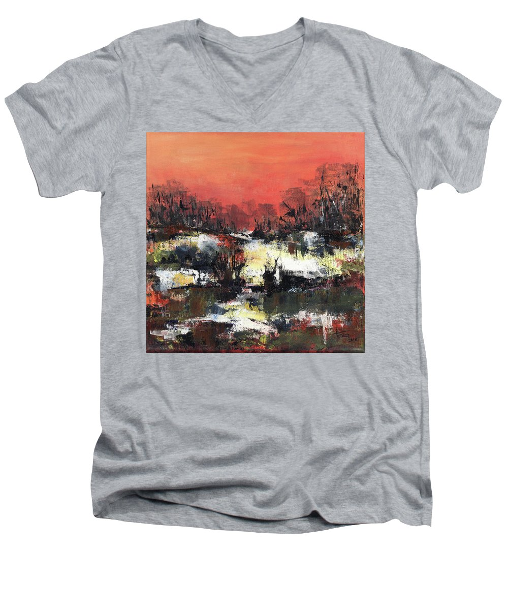 Abstract Men's V-Neck T-Shirt featuring the painting Twilight Madness by Aniko Hencz