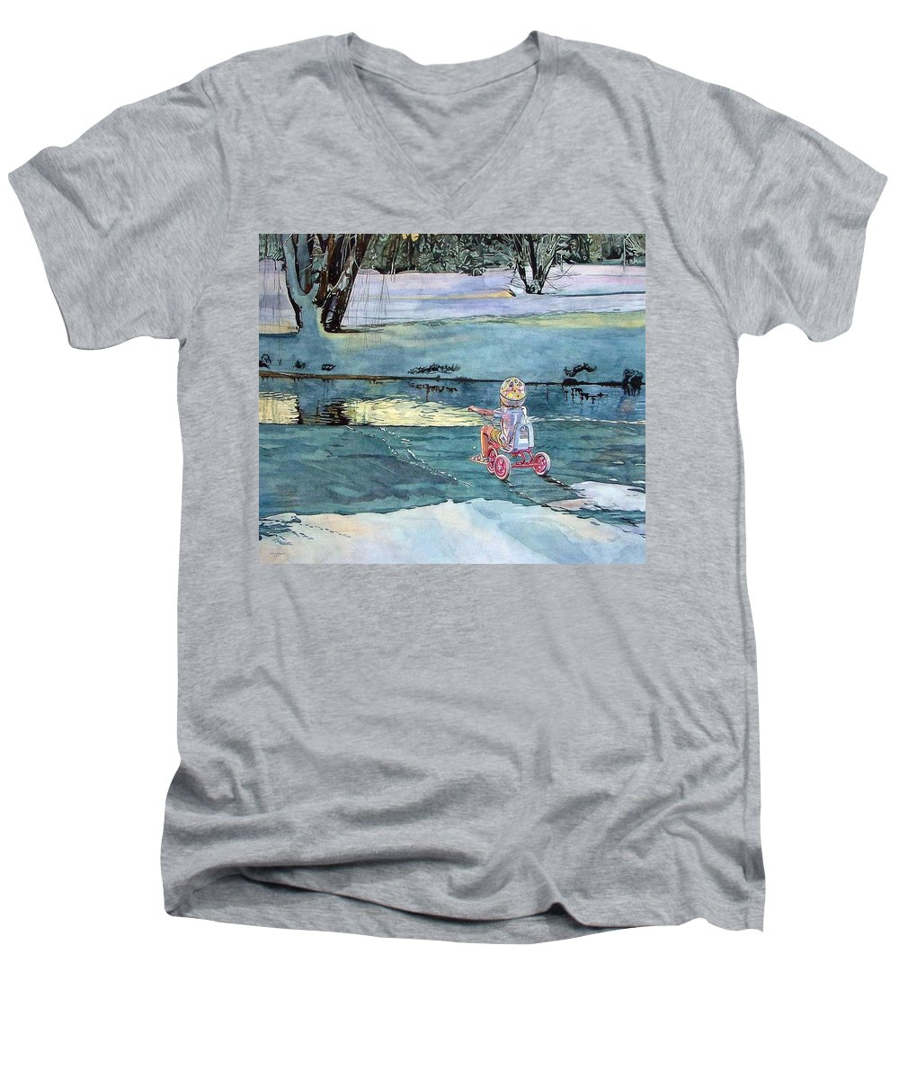 Children Men's V-Neck T-Shirt featuring the painting Twilight by Valerie Patterson