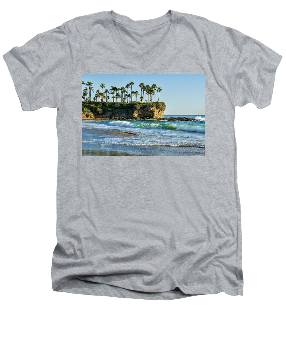 Twin Points Men's V-Neck T-Shirt featuring the photograph Twin Points Laguna Beach by Kelley King