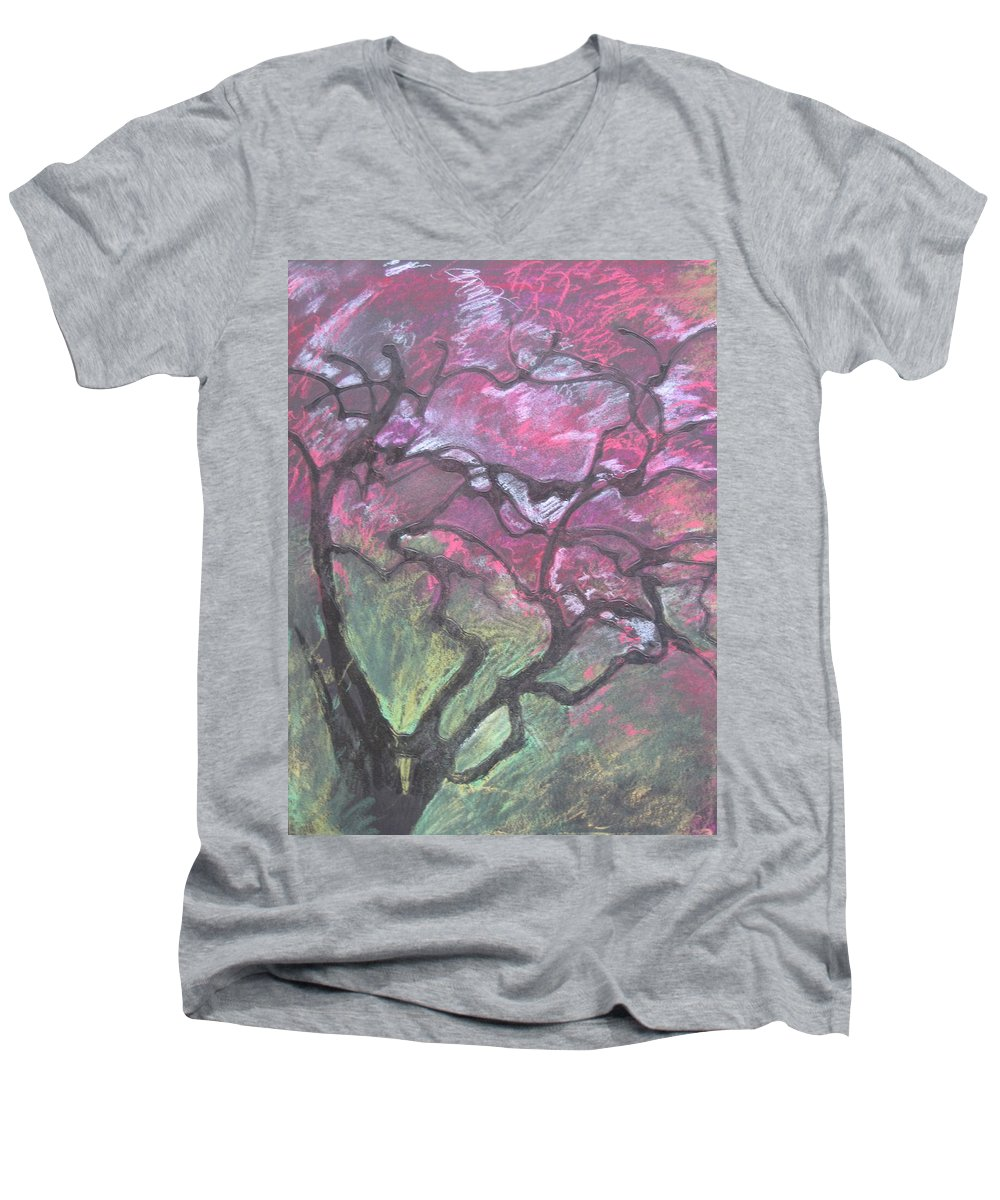 Pastel Men's V-Neck T-Shirt featuring the drawing Twisted Cherry by Leah Tomaino