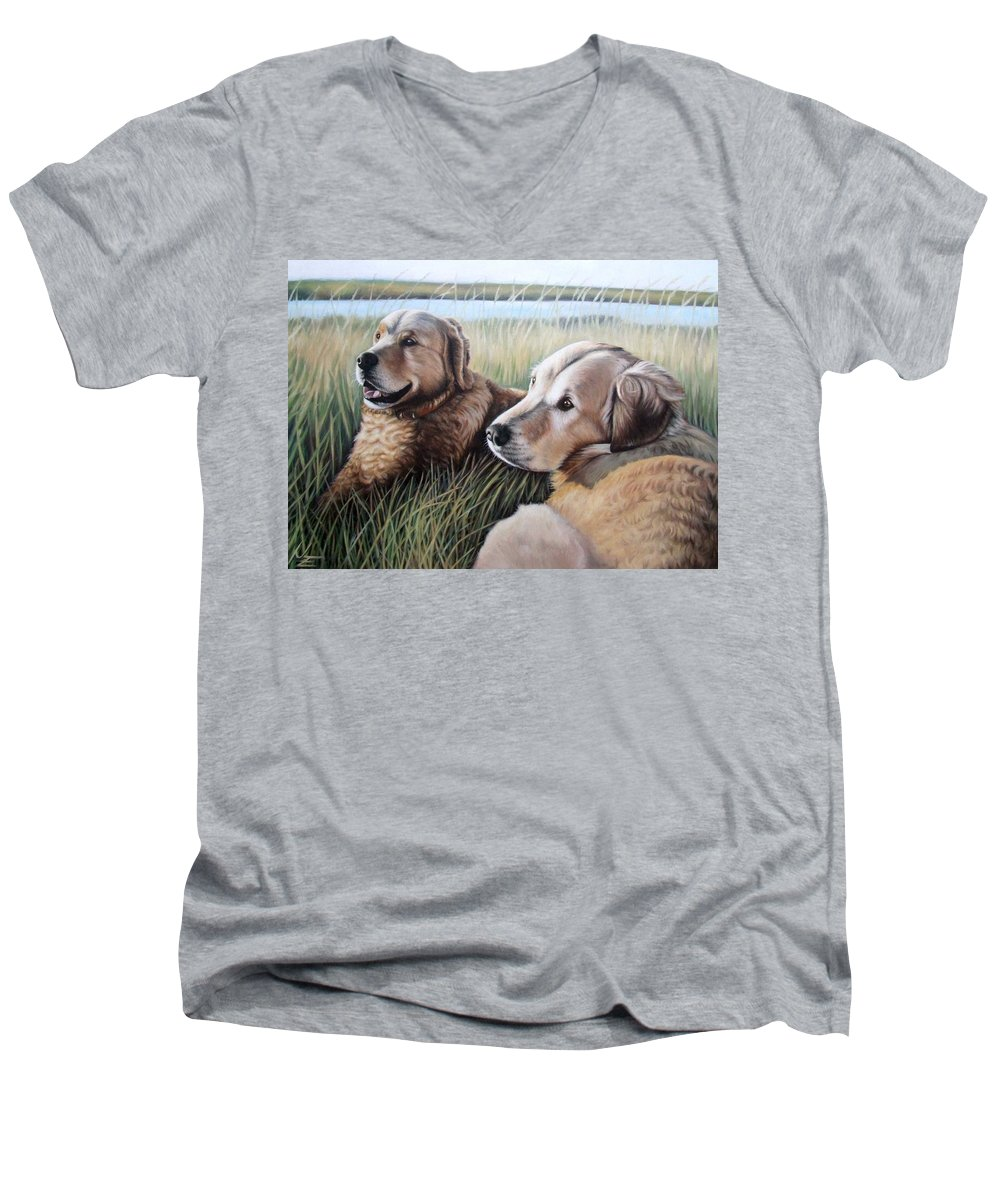 Dogs Men's V-Neck T-Shirt featuring the painting Two Golden Retriever by Nicole Zeug