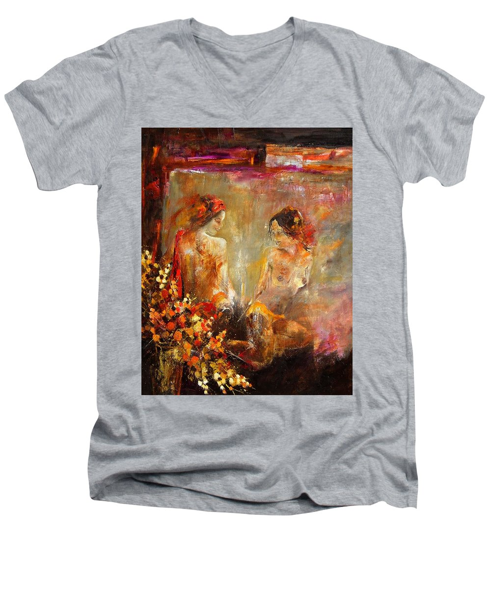 Girl Nude Men's V-Neck T-Shirt featuring the painting Two Nudes by Pol Ledent