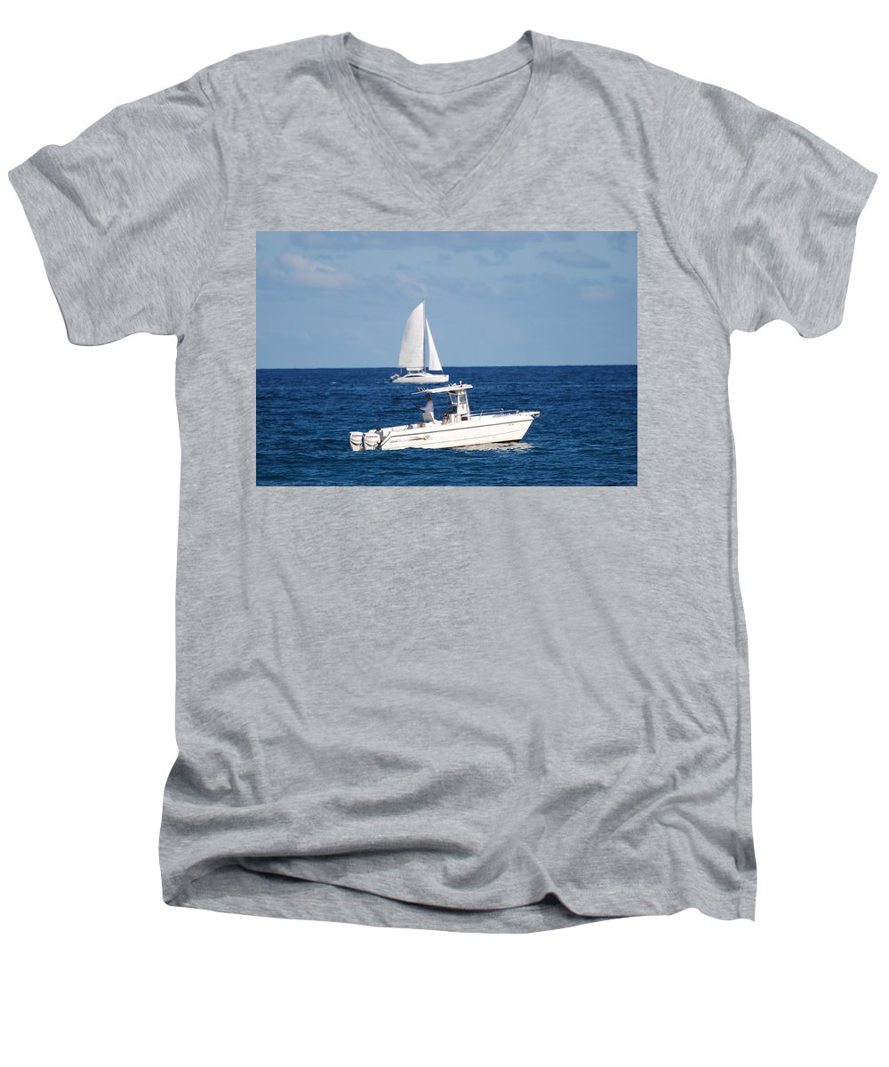 Sea Scape Men's V-Neck T-Shirt featuring the photograph Two Ships That Pass Thru The Day by Rob Hans