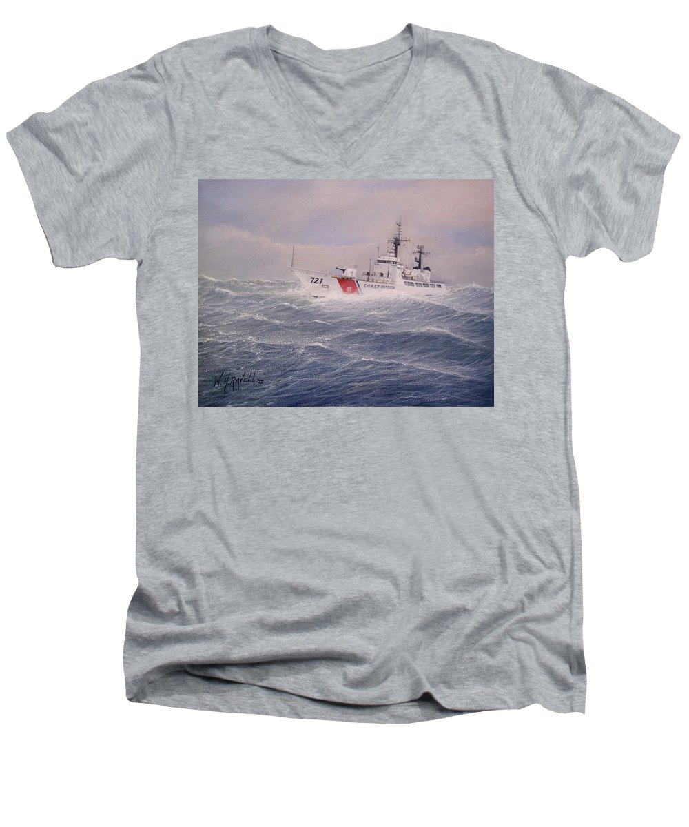Ship Men's V-Neck T-Shirt featuring the painting U. S. Coast Guard Cutter Gallitin by William H RaVell III