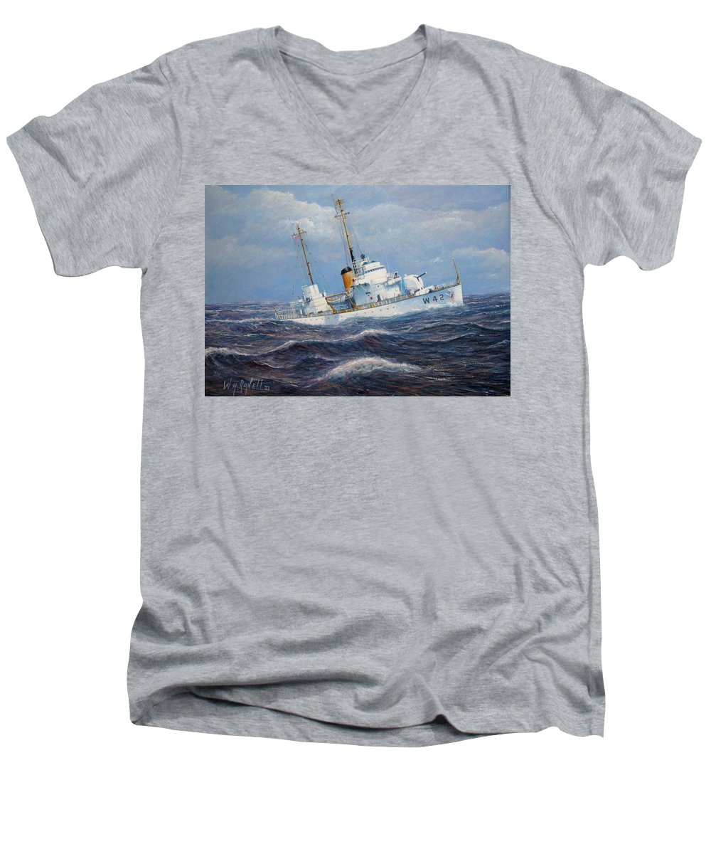 Marine Art Men's V-Neck T-Shirt featuring the painting U. S. Coast Guard Cutter Sebago Takes A Roll by William H RaVell III