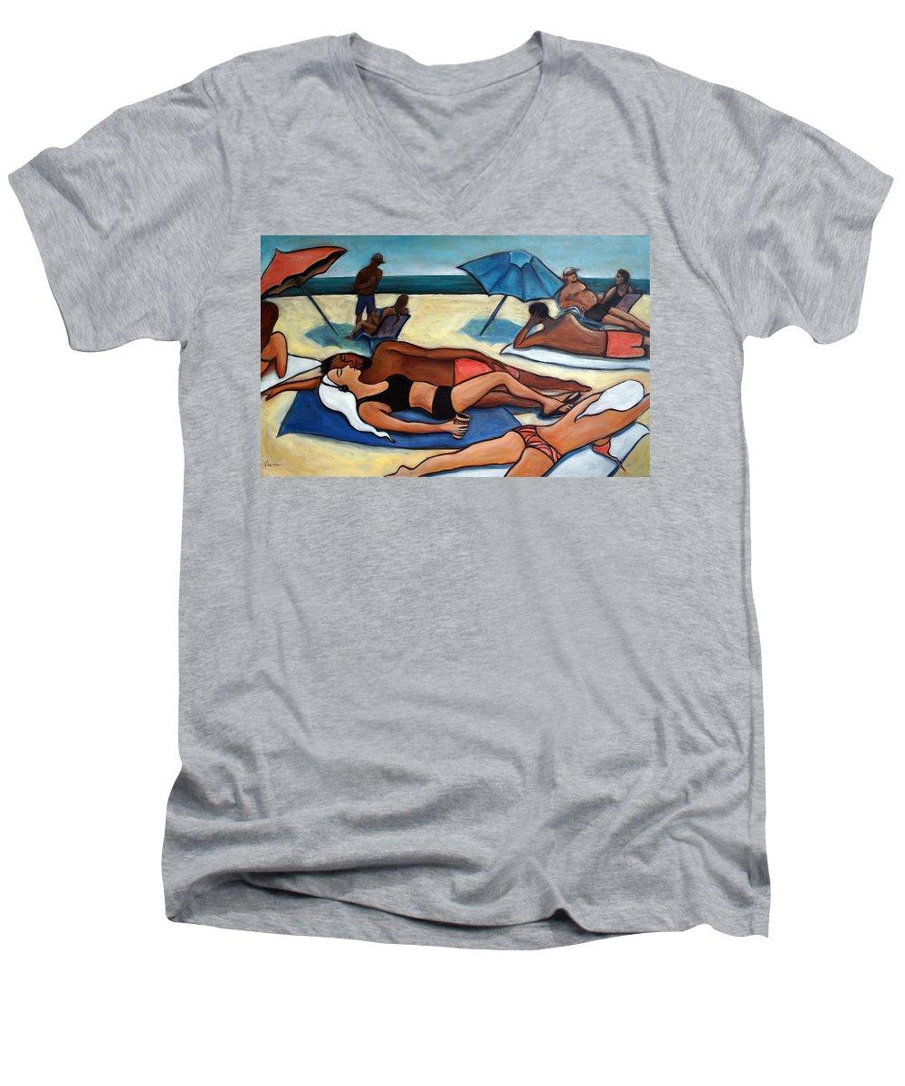 Beach Scene Men's V-Neck T-Shirt featuring the painting Un Journee A La Plage by Valerie Vescovi