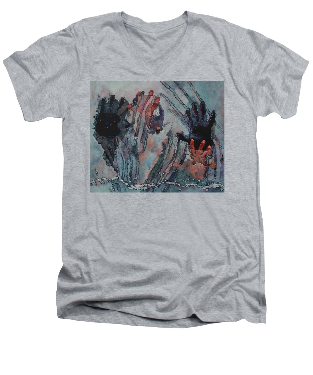 Underneath Men's V-Neck T-Shirt featuring the painting Under Ice by Valerie Patterson