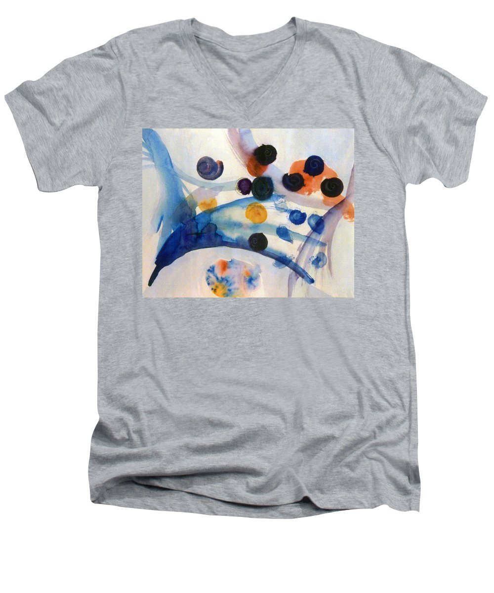 Abstract Men's V-Neck T-Shirt featuring the painting Under The Sea by Steve Karol