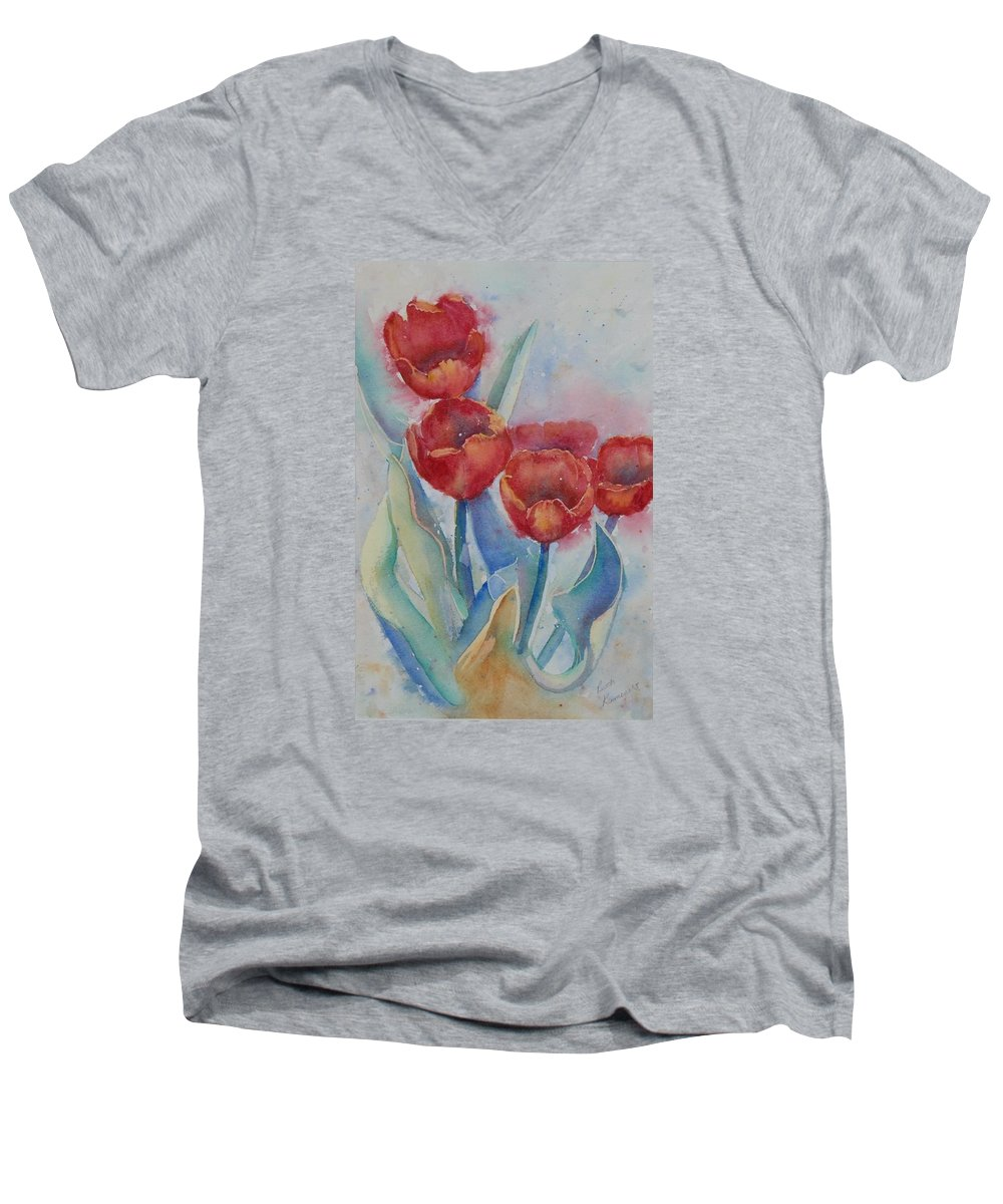 Flowers Men's V-Neck T-Shirt featuring the painting Undersea Tulips by Ruth Kamenev