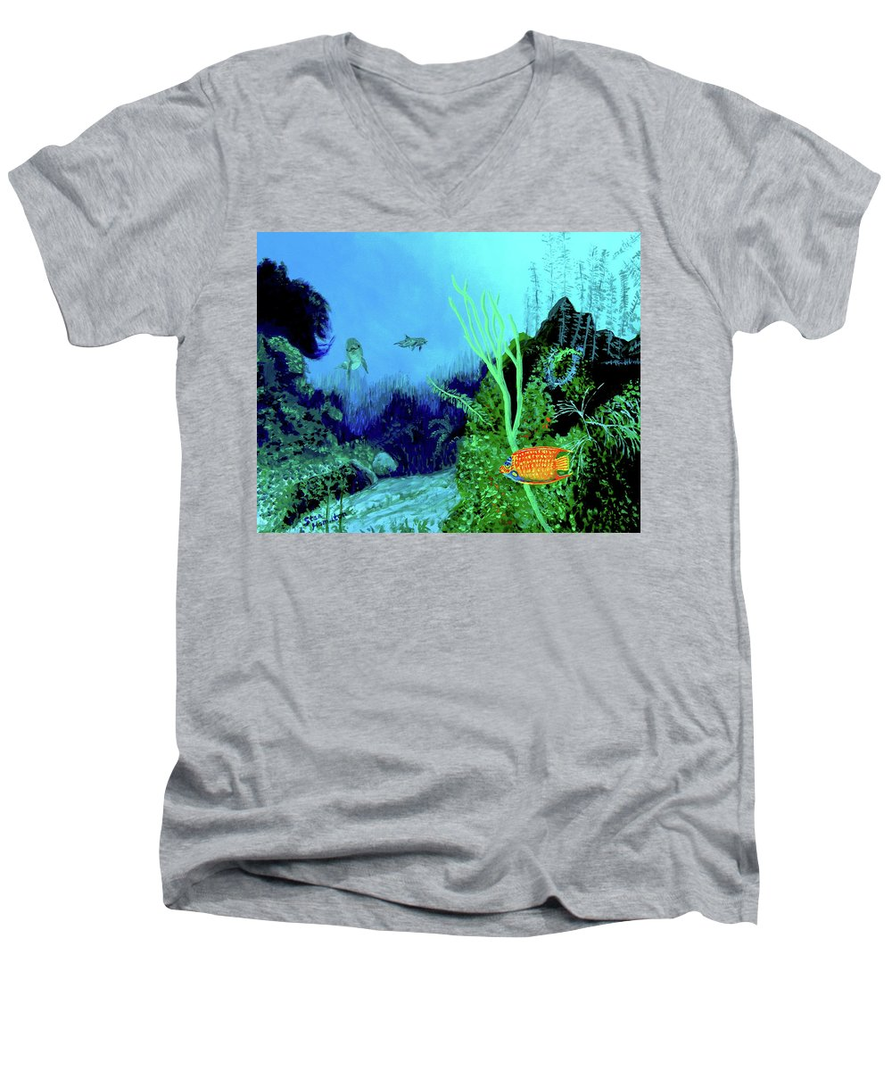 Wildlife Men's V-Neck T-Shirt featuring the painting Underwater by Stan Hamilton