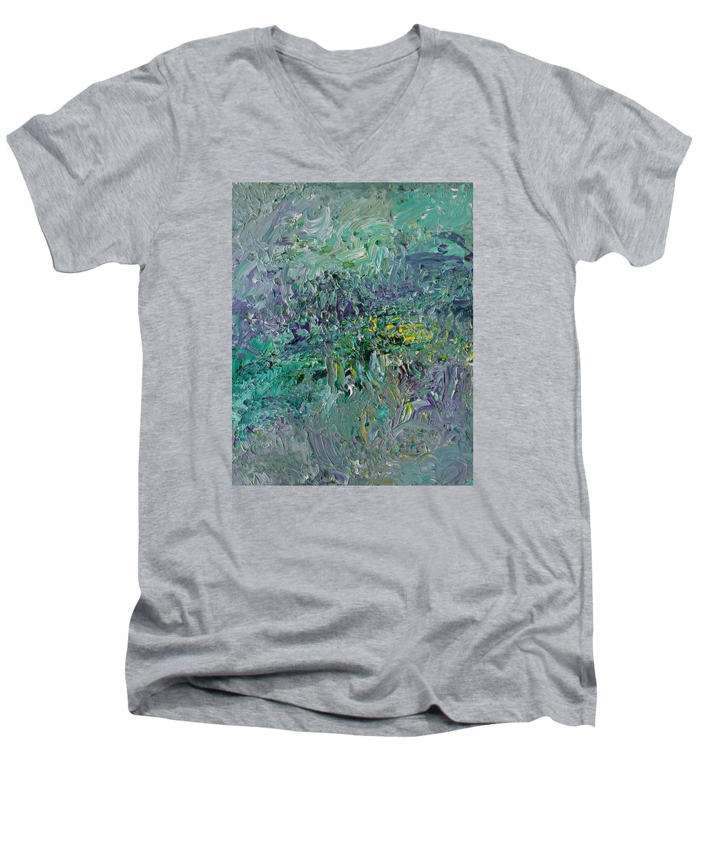 Fusionart Men's V-Neck T-Shirt featuring the painting Blind Giverny by Ralph White