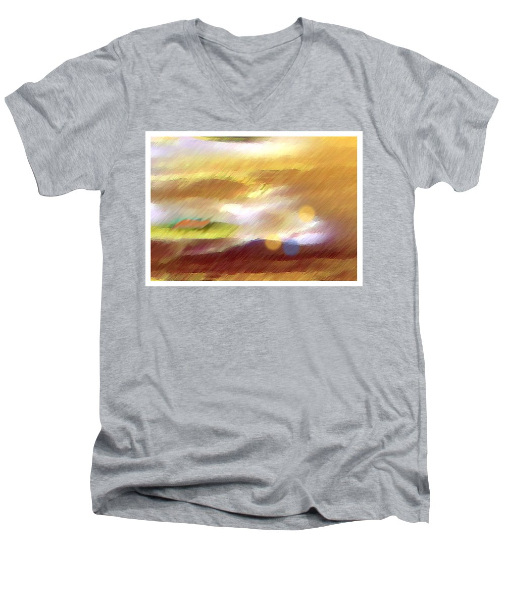 Landscape Men's V-Neck T-Shirt featuring the painting Valleylights by Anil Nene