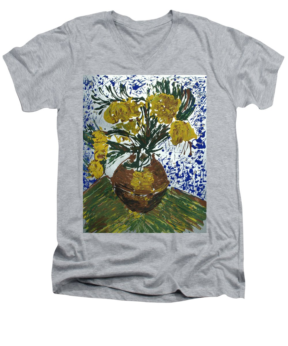 Flowers Men's V-Neck T-Shirt featuring the painting Van Gogh by J R Seymour