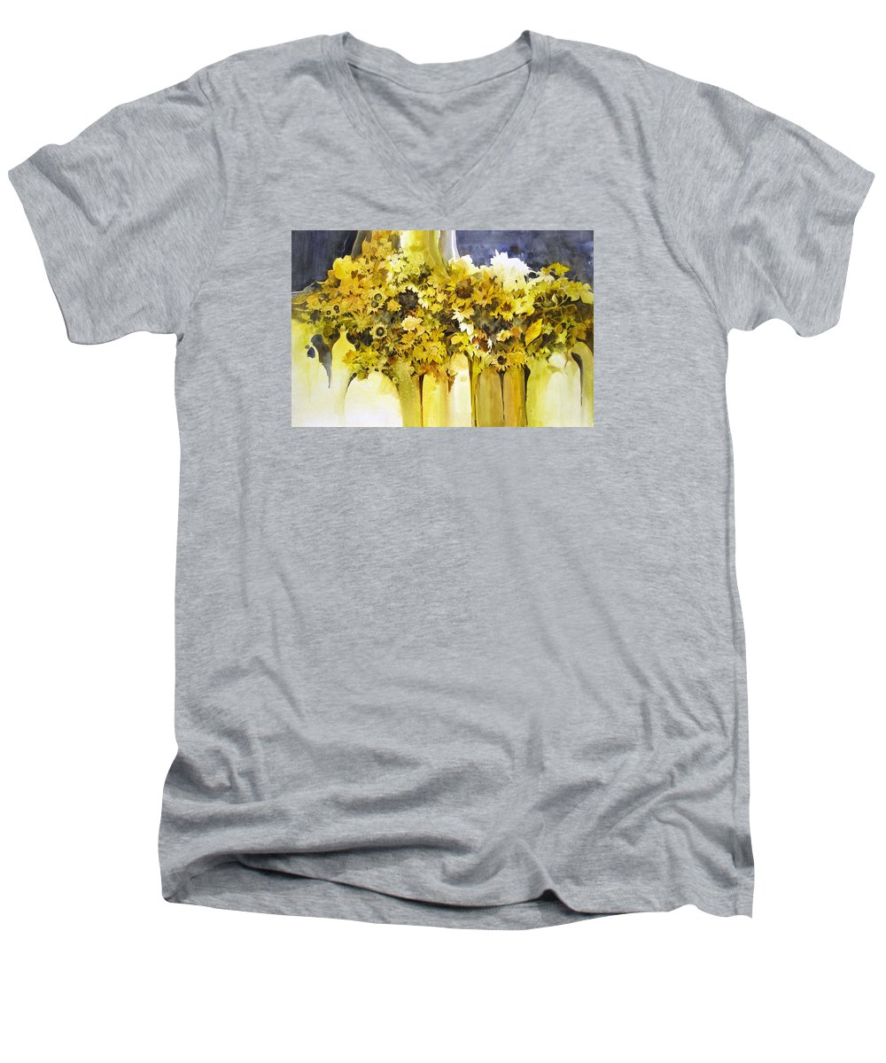 Yellow Flowers;sunflowers;vases;floral;contemporary Floral; Men's V-Neck T-Shirt featuring the painting Vases Full Of Blooms  by Lois Mountz